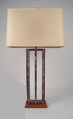Teak and Tile Inlay Table Lamp by Harris Strong