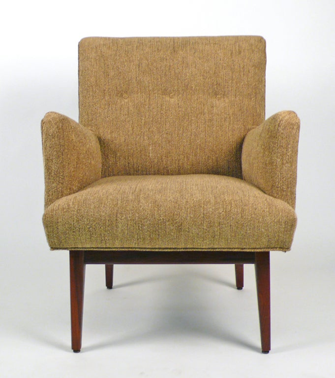 Fully restored conversation chair designed by Jens Risom. Excellent condition.