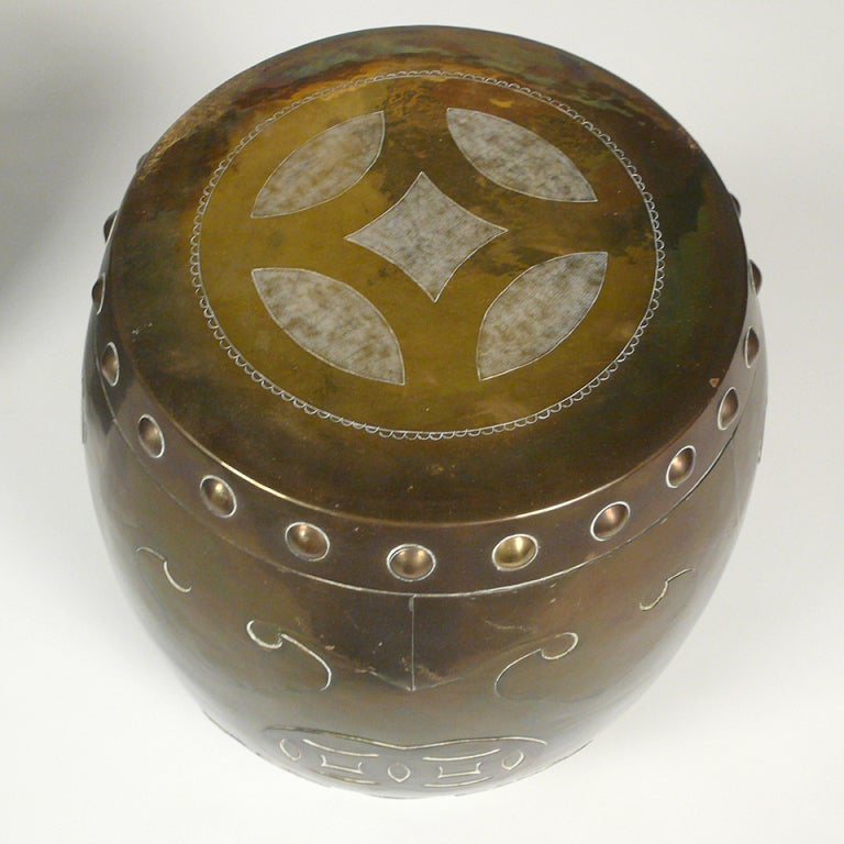 Chinese Brass Drum Tabourets At 1stdibs