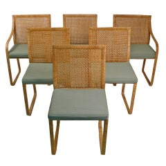 Six Cane Chairs by Harvey Probber