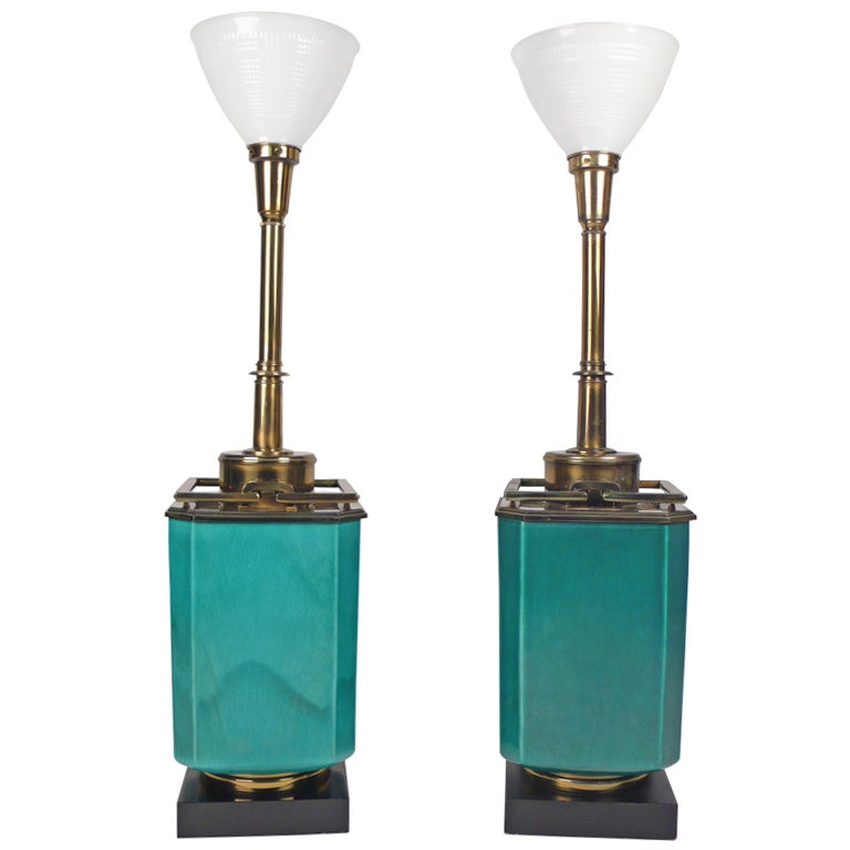 Jade Blue Ceramic Stiffel L&s 1950s 1  sc 1 st  1stDibs & Jade Blue Ceramic Stiffel Lamps 1950s at 1stdibs azcodes.com