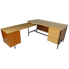 Beautiful Early Florence Knoll Desk and Return for Knoll International