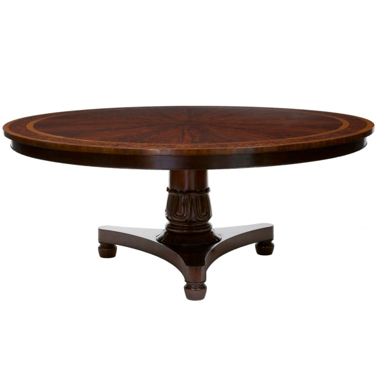 20th century mahogany inlaid 6ft round dining table for For6ft Round Dining Table