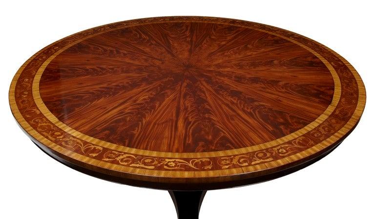 Ten Seats Mahogany Inlaid Round Dining Table At 1stdibs