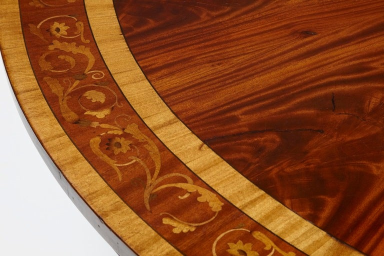 British Ten Seats Mahogany Inlaid Round Dining Table For Sale