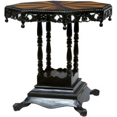 An Anglo-indian Ebony And Specimen Wood Occasional Table
