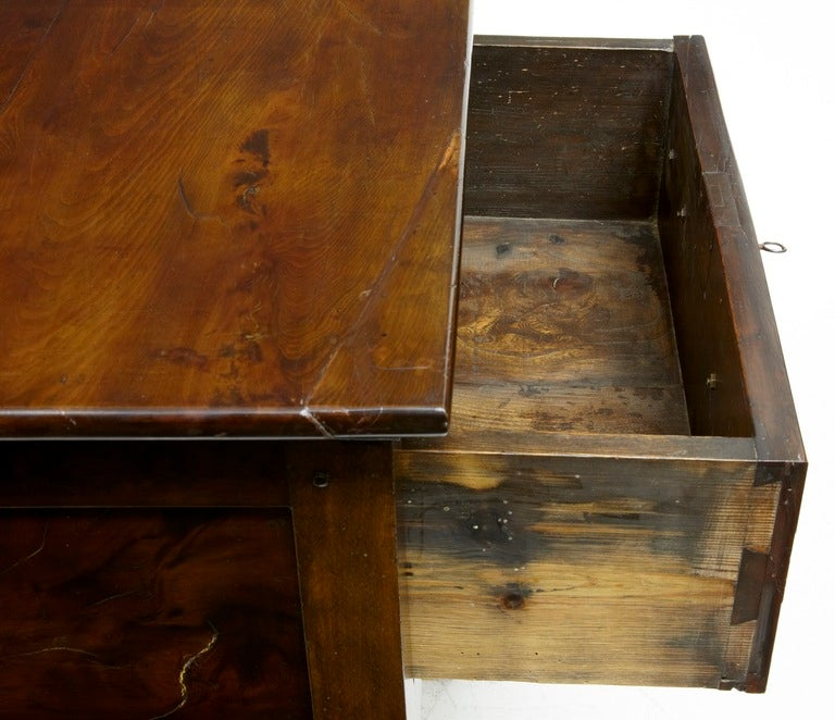 Woodwork 18th Century, Antique Small Yew Wood Side Table Dresser For Sale