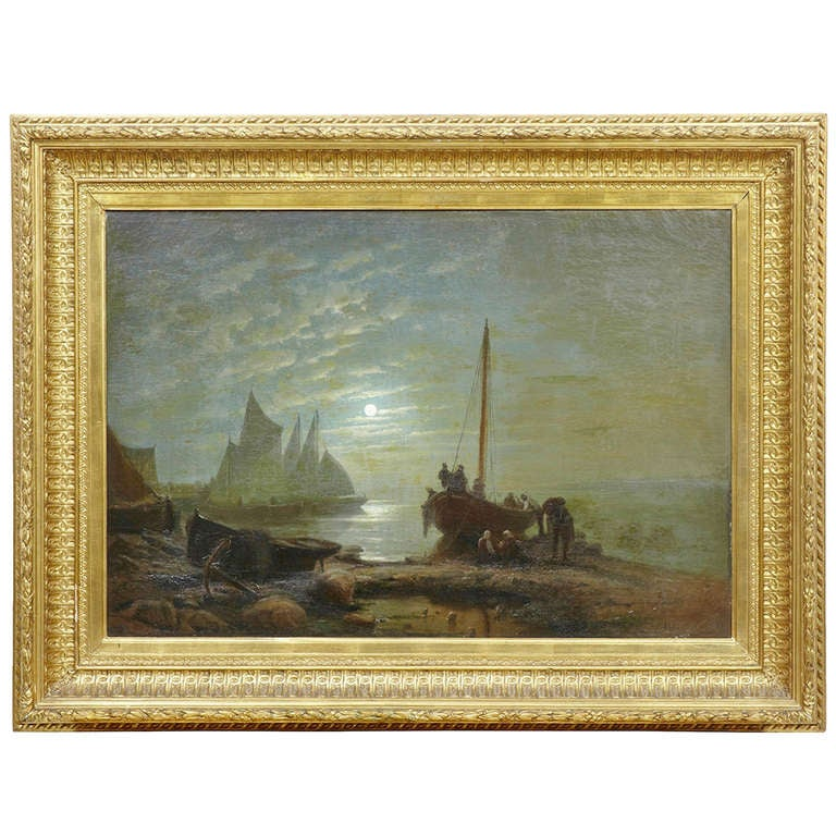 19th Century Moonlight Harbour Oil on Canvas by Albert Berg For Sale