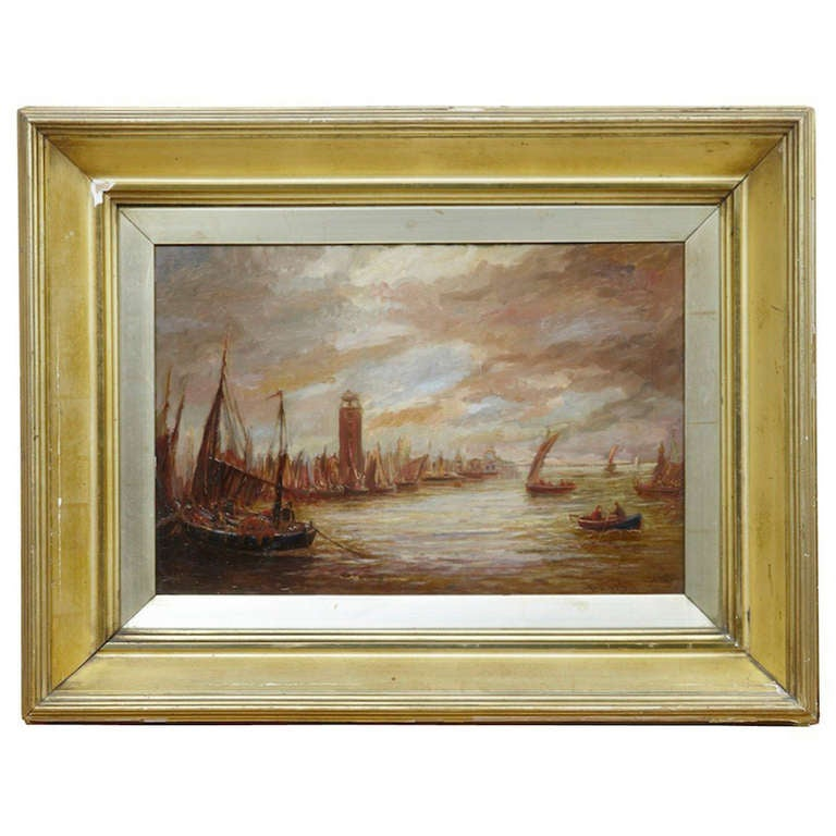 19th Century Oil on Canvas of Venice by Bernard Benedict Hemy