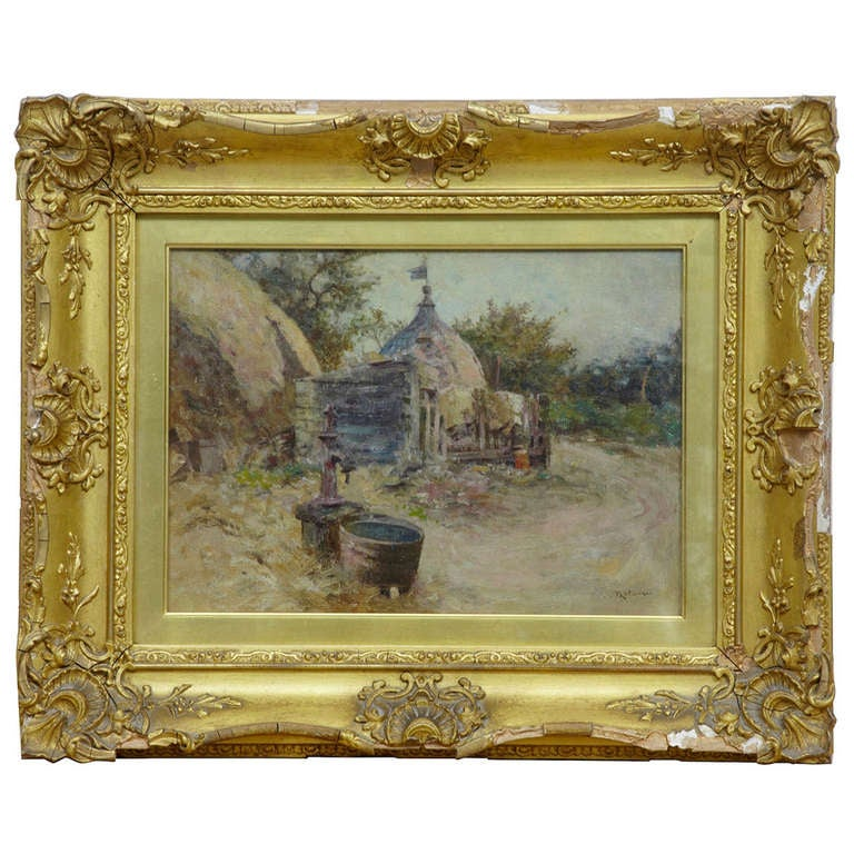 Robert McGregor Genre Oil Painting of French Village Scene For Sale