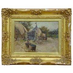 Robert McGregor Genre Oil Painting of French Village Scene