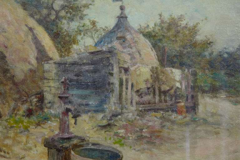 20th Century Robert McGregor Genre Oil Painting of French Village Scene For Sale
