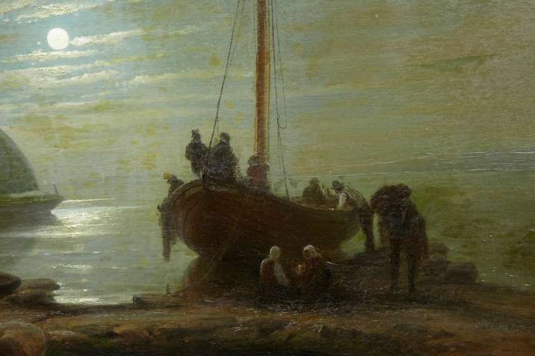 German 19th Century Moonlight Harbour Oil on Canvas by Albert Berg For Sale