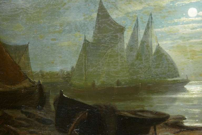 19th Century Moonlight Harbour Oil on Canvas by Albert Berg In Fair Condition For Sale In Debenham, Suffolk