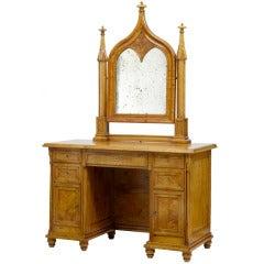 19th Century Swedish Birch Gothic Vanity Dressing Table and Mirror