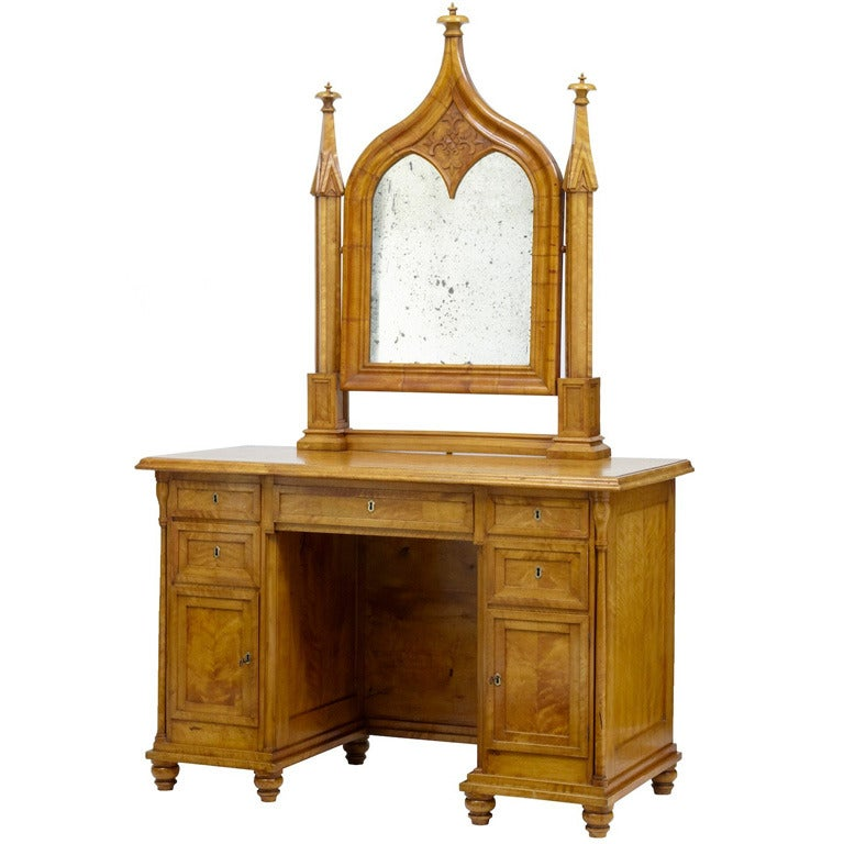 19th century swedish birch gothic vanity dressing table for Vanity table and mirror for sale