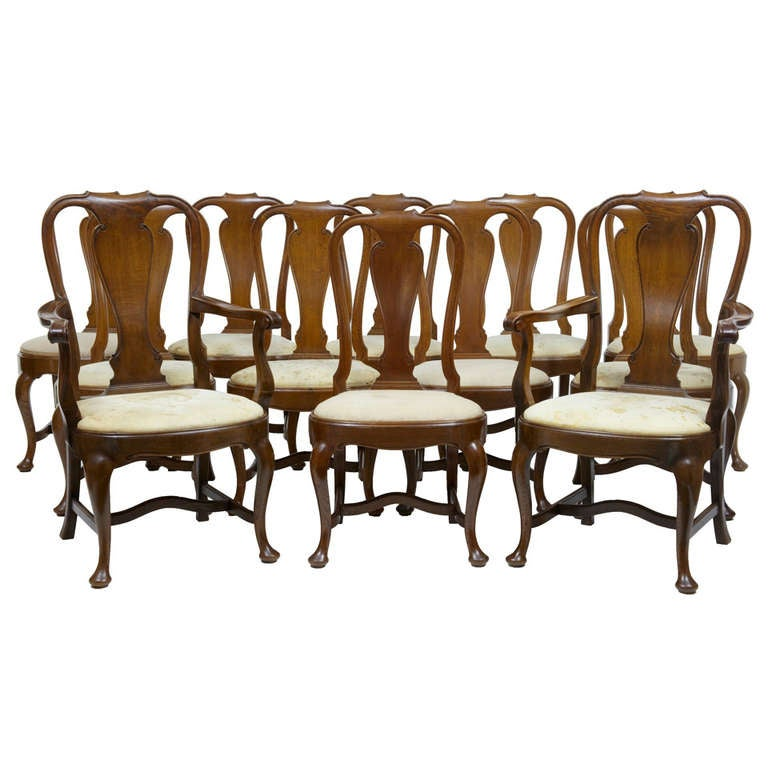 Set Of 10 2 Late 19th Century Oak Queen Anne Influenced Dining Chairs At 1st