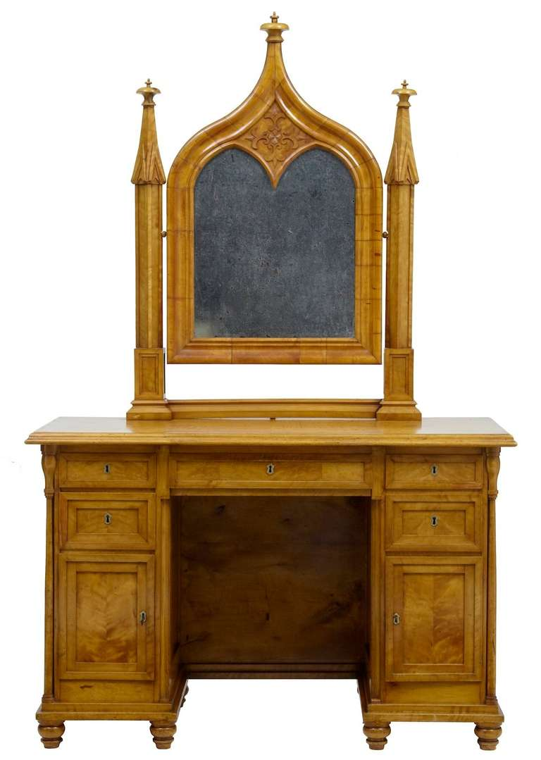 superb Gothic Vanity For Sale Part - 7: Biedermeier 19th Century Swedish Birch Gothic Vanity Dressing Table and  Mirror For Sale