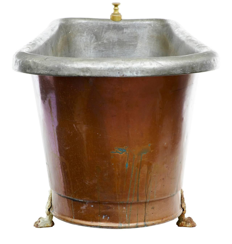 19th Century Victorian Roll Top Copper Bath Tub At 1stdibs