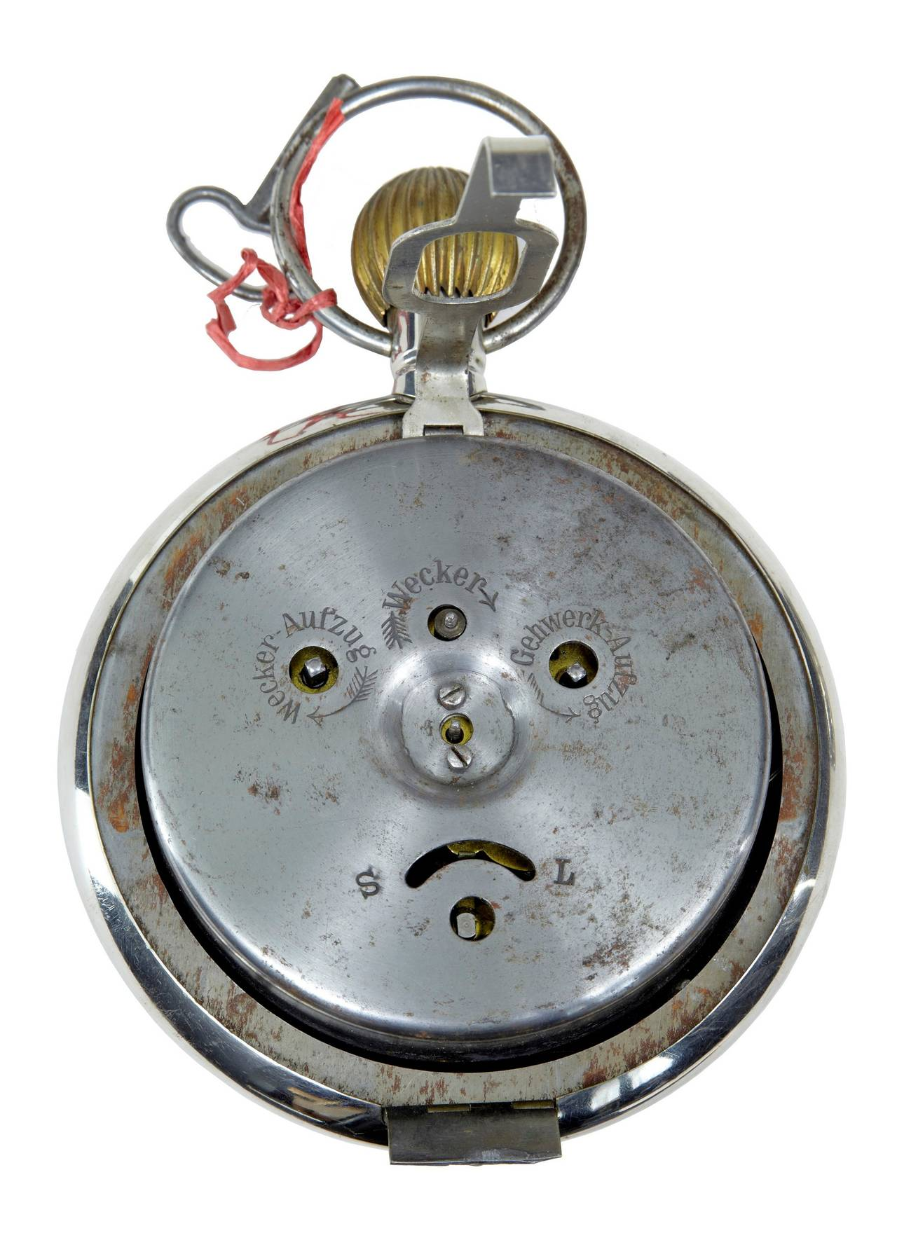 Early 20th century German clock in the form of a pocket watch D.R.G.M  Here we have a German patented oversized pocket watch or clock, circa 1910.  Marked on the face with D.R.G.M and D.R.P. Also bares the RSM rose logo which dates this to
