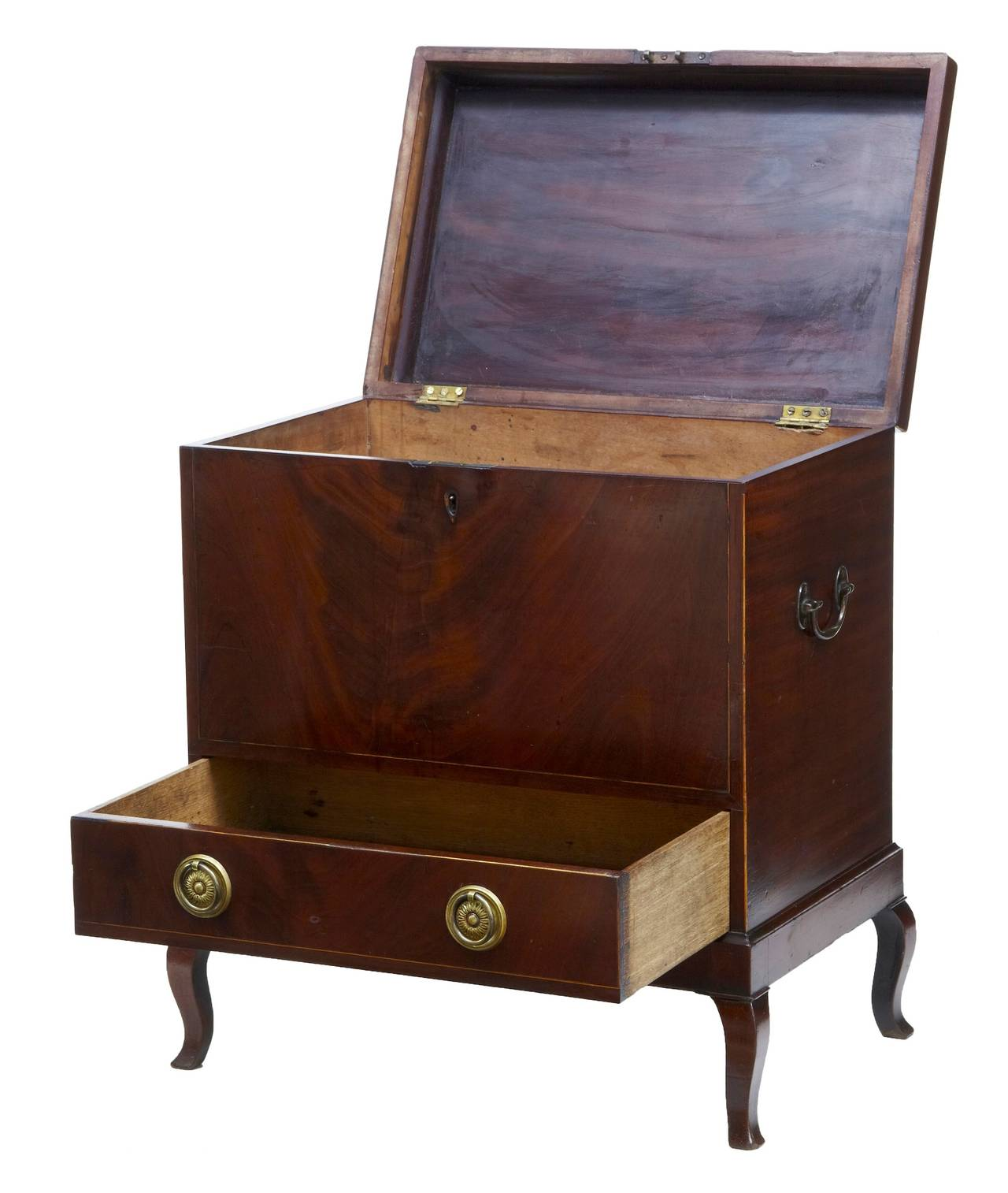 Edwardian wine cooler, circa 1905.   Fitted with compartments and a single drawer below.  Marks and repairs (see pictures)  Measures: Height: 24