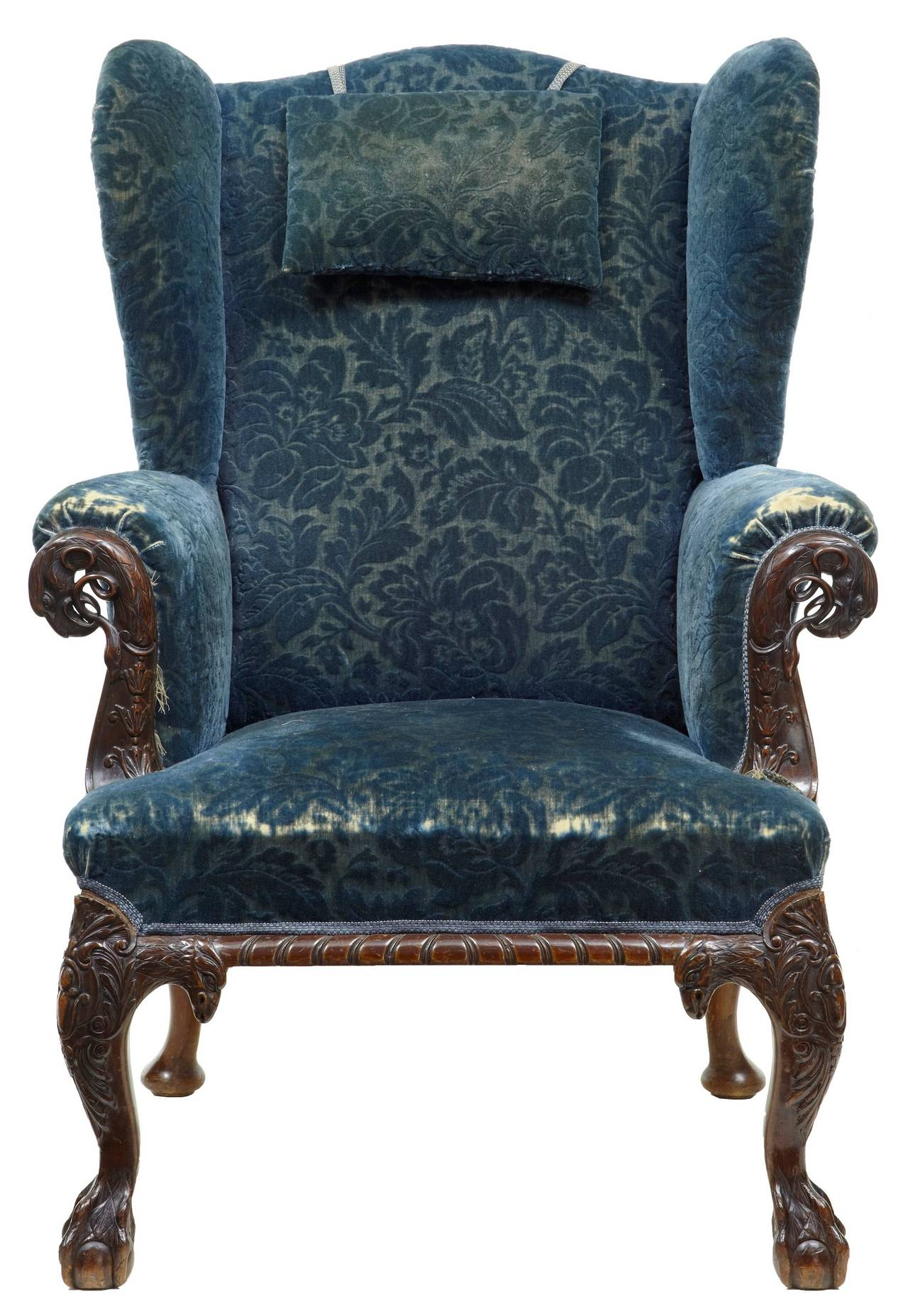 Early Victorian Carved Mahogany Wingback Armchair at 1stdibs