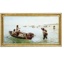 Large 19th Century Oil on Canvas 'a Kiss from the Sea' by Hamilton Macallum