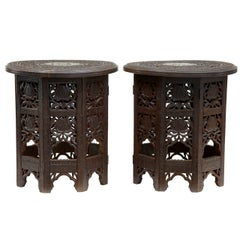 Pair of Late 19th Century Octagonal Hardwood Indian Occasional Tables