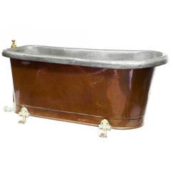 19th Century Victorian Roll-Top Copper Bath Tub