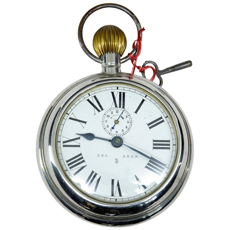 Early 20th Century German Clock in the Form of a Pocket Watch, Marked D.R.G.M For Sale