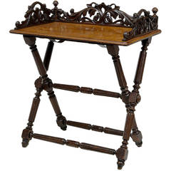 19th Century Victorian Carved Oak Butlers Tray on Stand