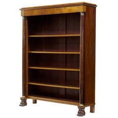19th Century French Empire Mahogany Open Bookcase