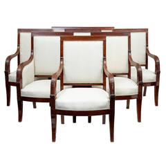 19th Century Seven-Piece French Mahogany Salon Suite