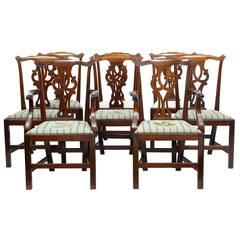 Set of Eight 19th Century Chippendale Inspired Mahogany Dining Chairs