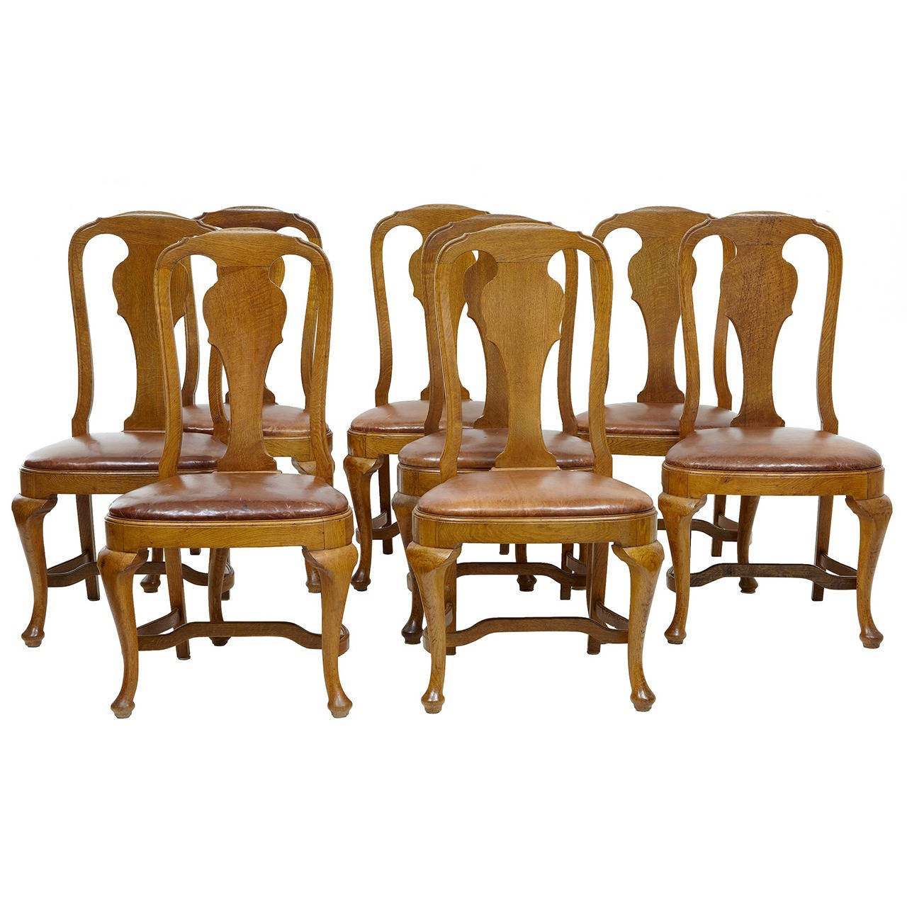 set of eight queen anne influenced dining chairs for sale at 1stdibs