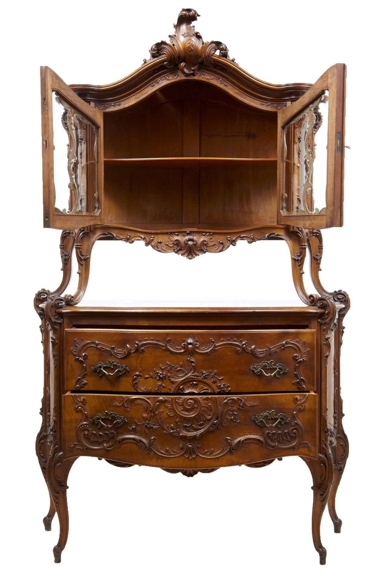 Perfect Rare 19th Century Louis XV Influenced Carved Walnut Two Tier Cabinet On  Commode Stunning And
