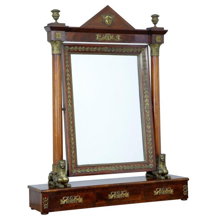 19th Century French Empire Mahogany Large Dressing Mirror