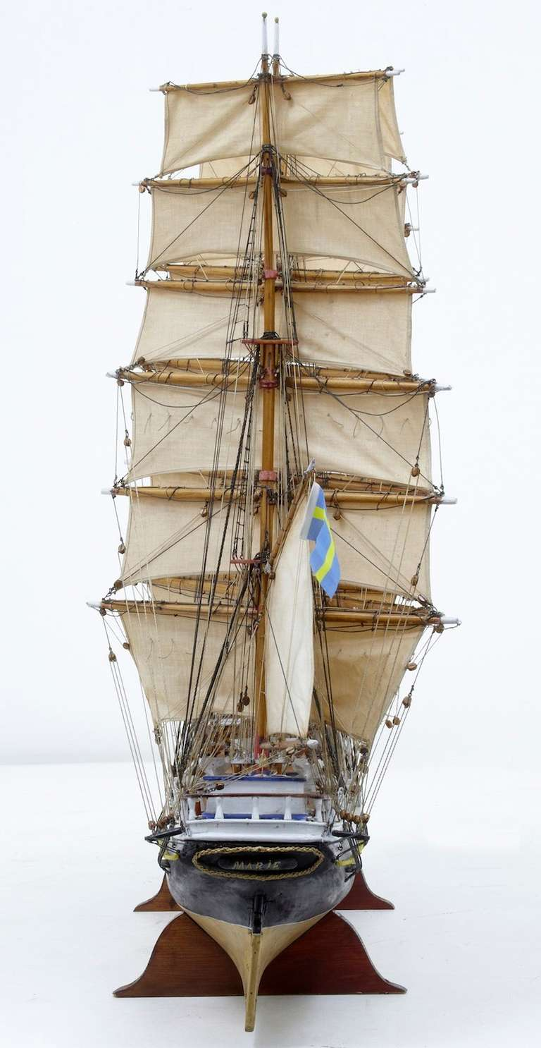 Magnificent Large Cased Model Of Swedish Barque Immigrant