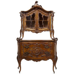 Rare 19th Century Louis XV Influenced Carved Walnut Two-Tier Cabinet on Commode