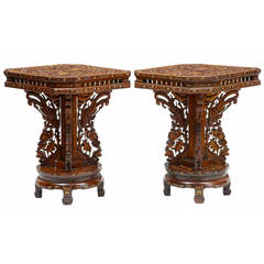Pair of 19th Century Chinese Hardwood Inlaid Occasional Tables