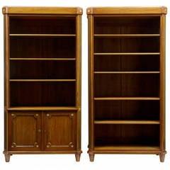 Pair of 19th Century Mahogany Empire Open Bookcases
