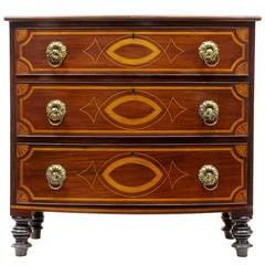 Early 19th Century Irish Inlaid Mahogany Bowfront Chest of Drawers