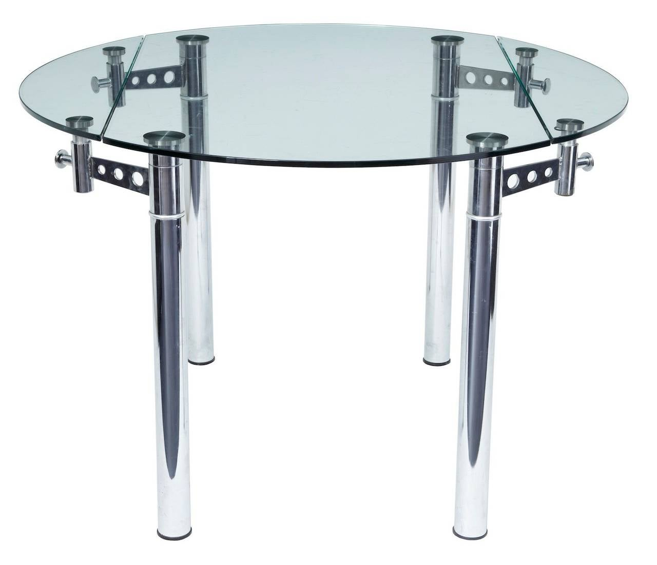 Quality chrome and glass 1970s dining table at 1stdibs for Good quality dining tables
