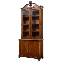 Mid-19th Century Victorian Burr Walnut Bookcase with Architectural Cornice