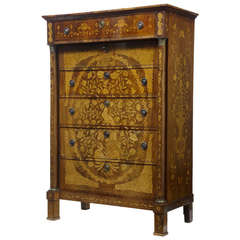 19th Century French Inlaid Mahogany Six-Drawer Chest