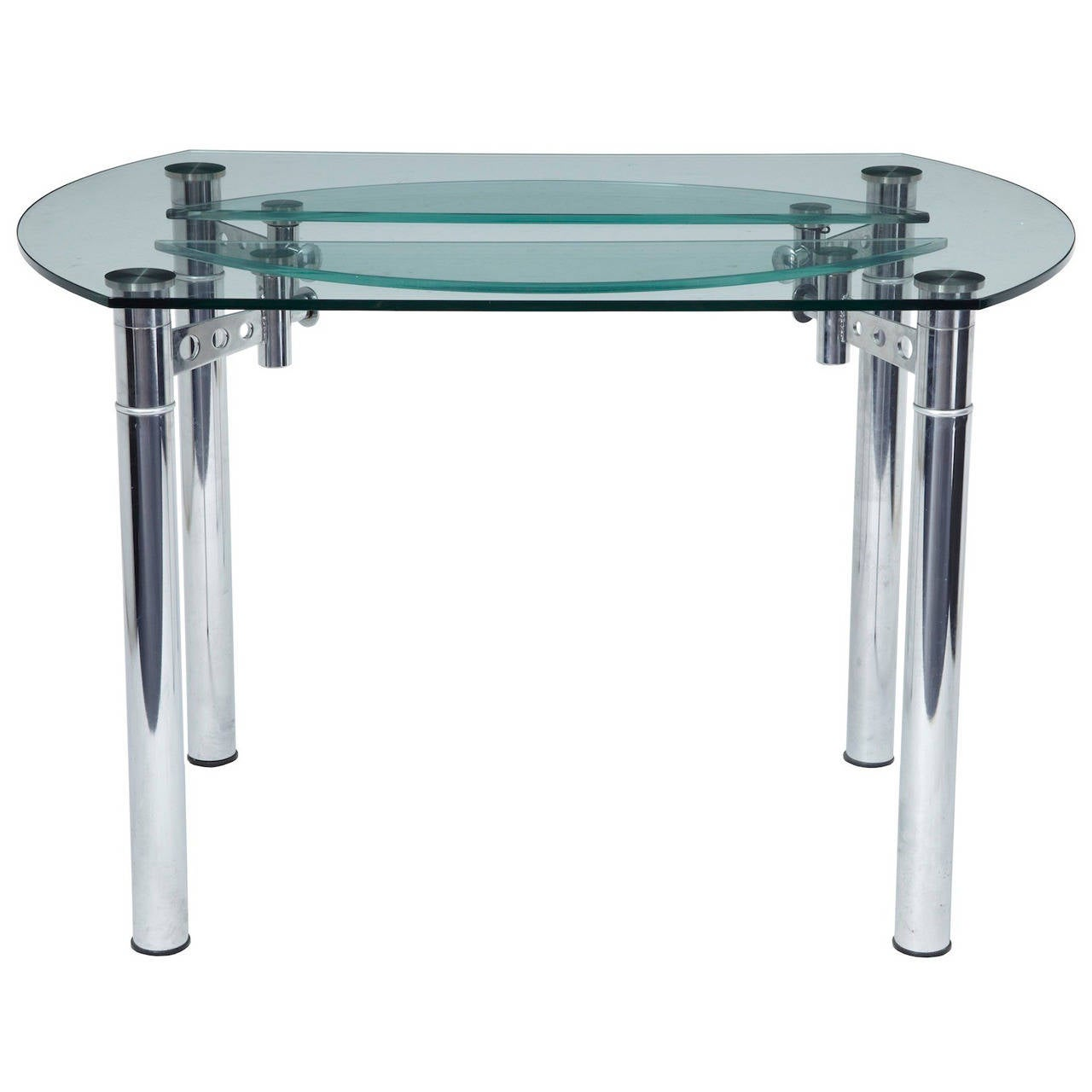 Quality chrome and glass 1970s dining table at 1stdibs for Dining room tables quality