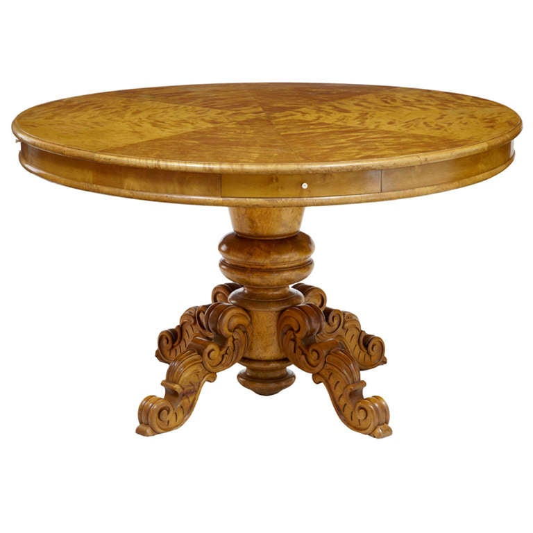 19th Century Birch Swedish Drum Centre Table For Sale