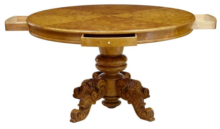 Hand-Carved 19th Century Birch Swedish Drum Centre Table For Sale