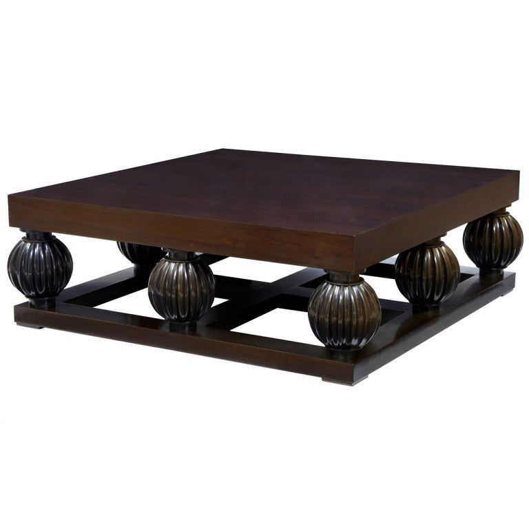 20th century large walnut contemporary art deco influenced coffee lounge table at 1stdibs - Deco lounge oud en modern ...