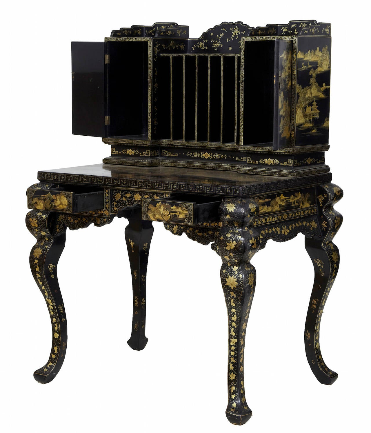 1920s Oriental Black Lacquered and Gold Decorated Desk